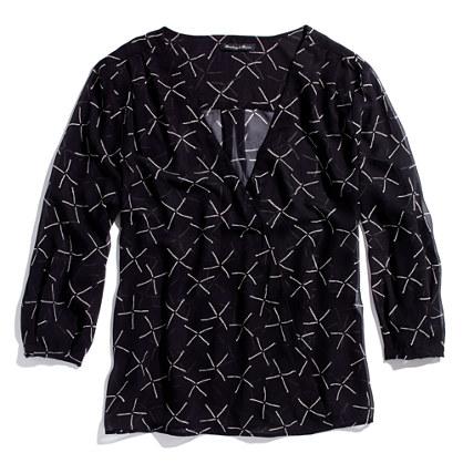 Silk Printed V-Neck Blouse