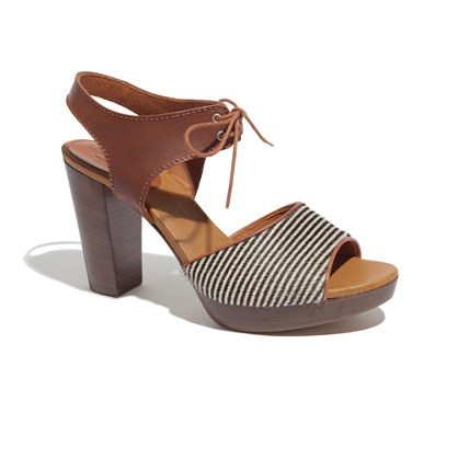 The Lace-Up Sandal in Striped Calf Hair