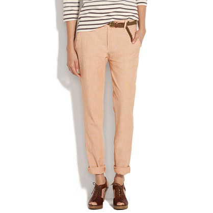 City Slouch Chambray Trousers in Pink Oyster
