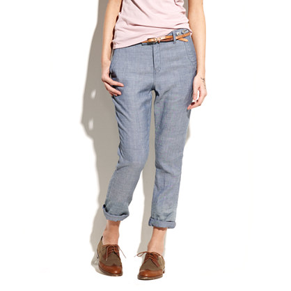 City Slouch Chambray Trousers in Pasture Wash
