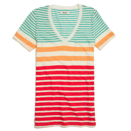 V-Neck Pocket Tee in Stripe