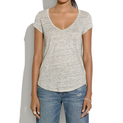 Heathered Linen V-Neck Tee