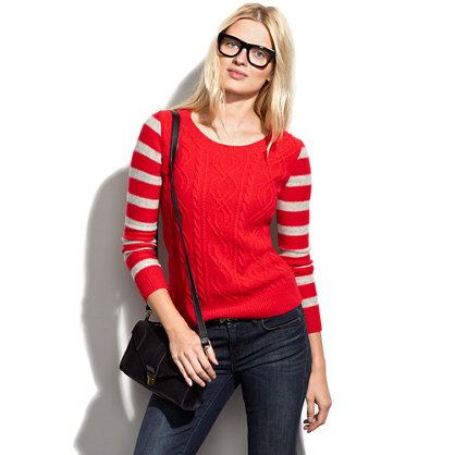 Stripe-Sleeve Cablecrew Sweater