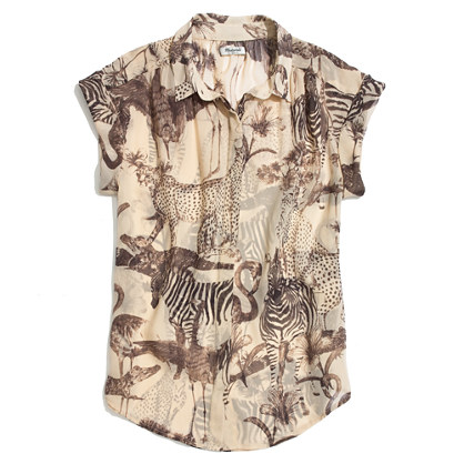 Silk Roll-Sleeve Top in Safari Sketch