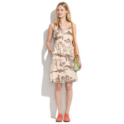 Tailored Silk Dress in Safari Sketch