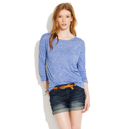 Denim Midi Shorts in Locomotive Wash