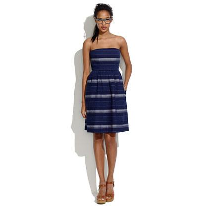 Woven Stripe Strapless Sundress