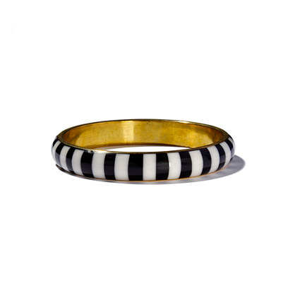 Cara Accessories™ Black & White Wide-Stripe Bangle