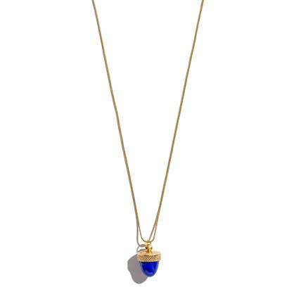 Acorn Locket Necklace in Enamel