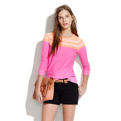Contrast Sweater in Neon Stripe