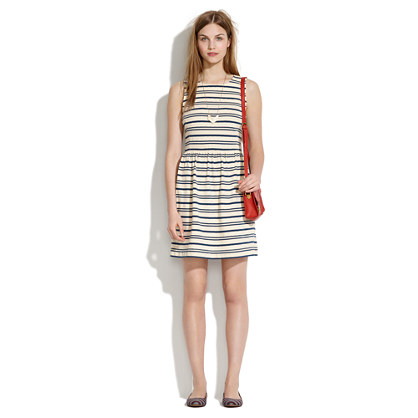 Afternoon Dress in Textured Stripe