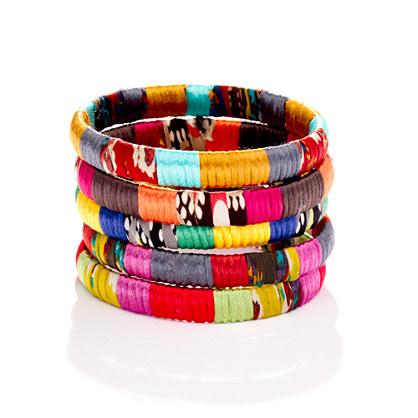 Cara Accessories™ Mixed-Fabric Bangle