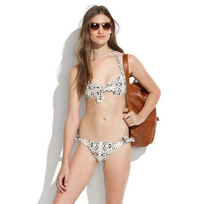 Tie-Front Bikini Top in Laceprint