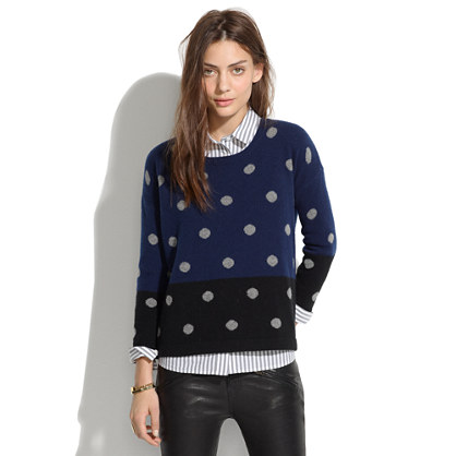 Colorblock Dotted Crewneck Sweater : pullovers | Madewell