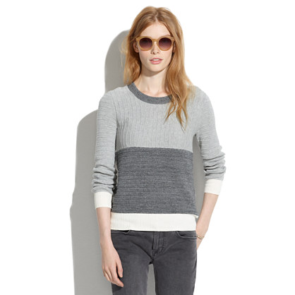 Colorblock Linear Stitch Sweater