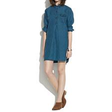 Indigo Linen Long-Sleeve Tunic Dress in Ultramarine - ULTRAMARINE