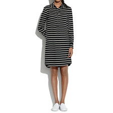 Silk Striped Tunic Dress - ALMOST BLACK
