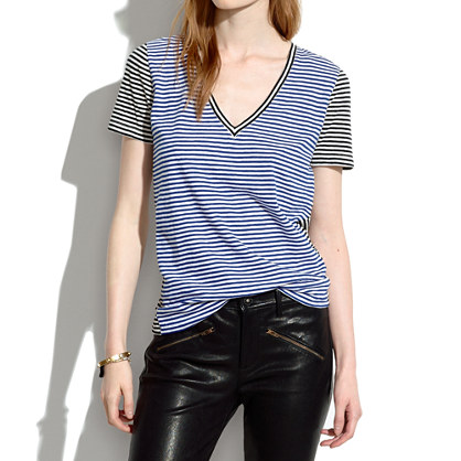 Slub V-Neck Tee in Colorblock Stripe