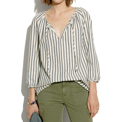 Indigo Stripe Drawstring Blouse