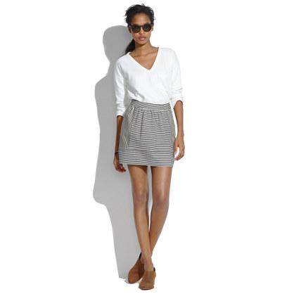 Ponte Swivel Skirt in Stripe