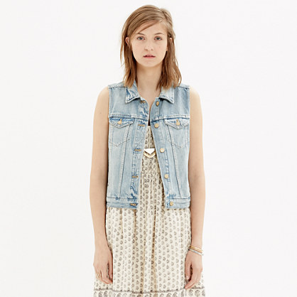 The Jean Vest in Clear Blue