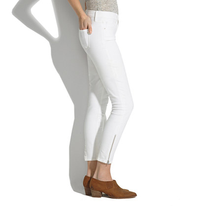 Skinny Skinny Crop Zip Jeans in Pure White : skinny skinny crop