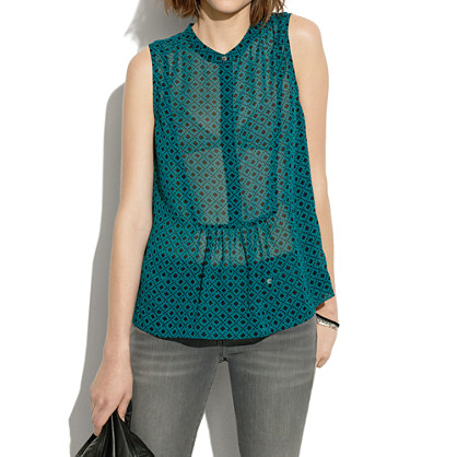 Silk Shirtfront Tank in Floralstamp
