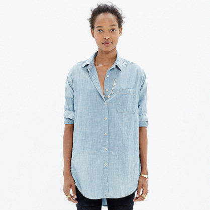 Oversized Button-Down Chambray Shirt