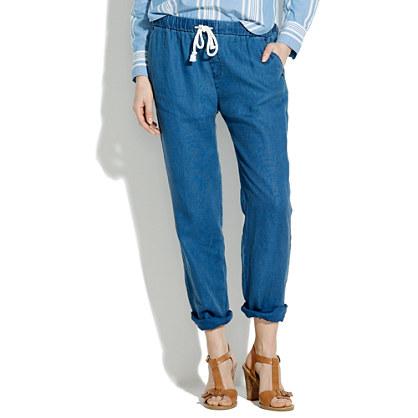 Indigo Linen Drawstring Pants : pants | Madewell