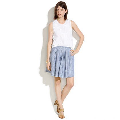 Pleated Shirtstripe Skirt