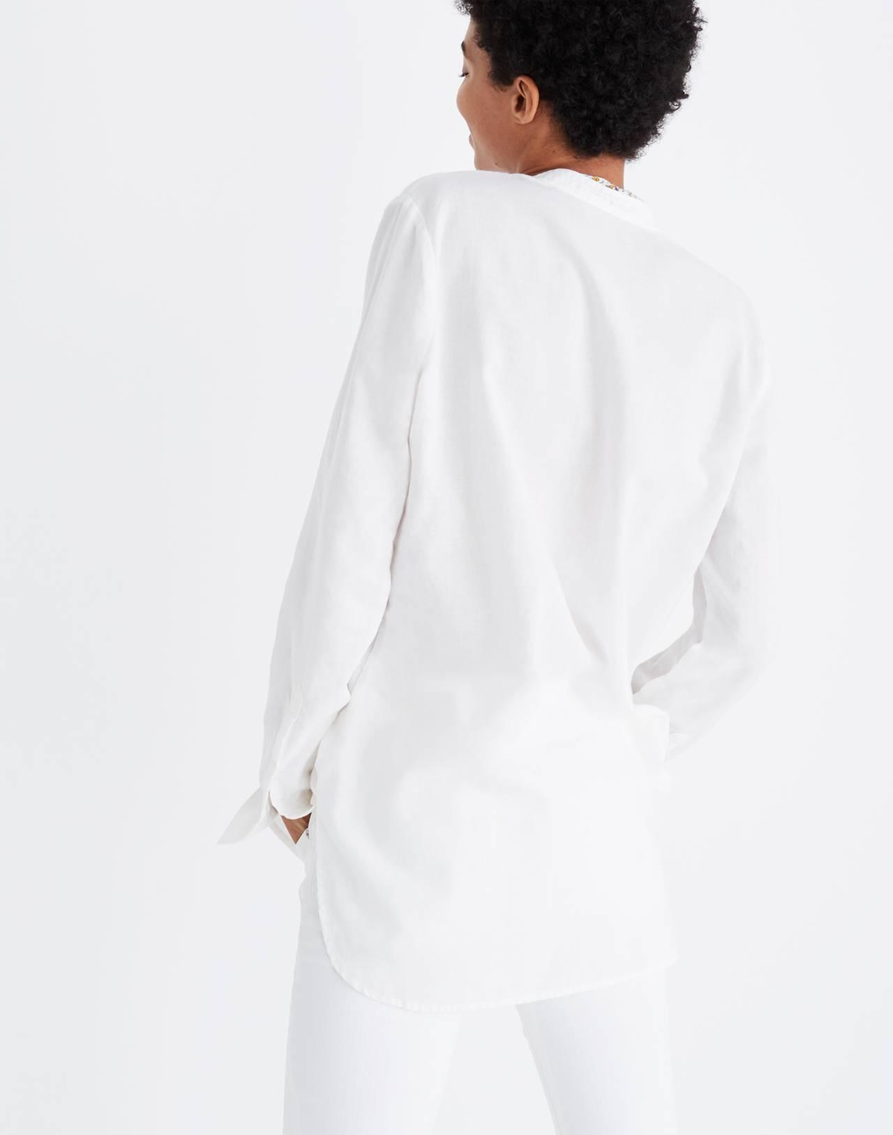 Wellspring Tunic Popover Shirt in eyelet white image 3