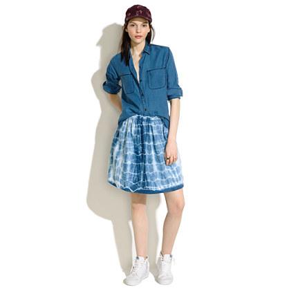 Indigo Shibori Linen Skirt