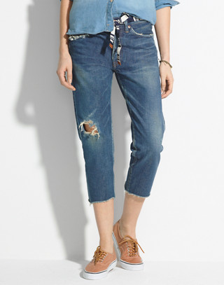 Chimala® Selvedge Tapered Jeans in damaged indigo image 1