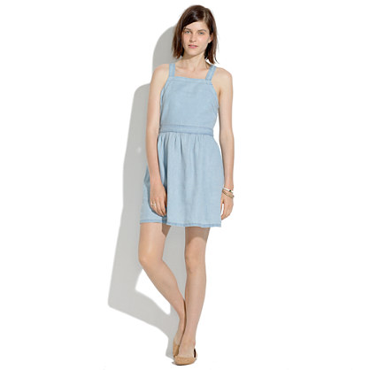 Linen Pinafore Dress in Pale Indigo