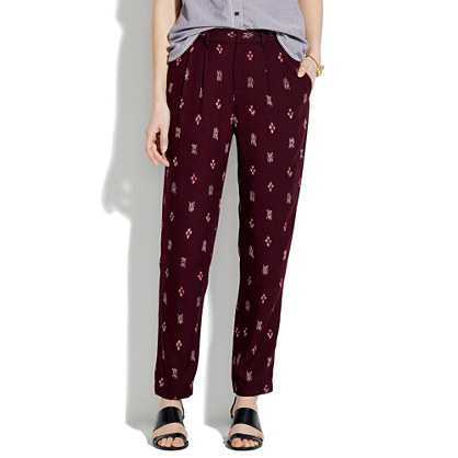 Delancey Slouch Trousers in Burgundy Ikat