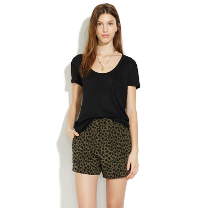 Silk Shorts in Leopard Sketch