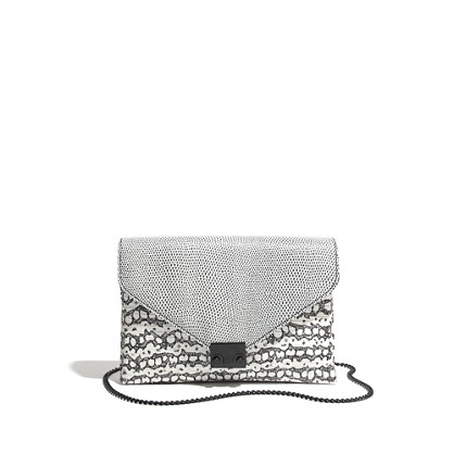 Loeffler Randall® Lock Clutch in Embossed Lizard