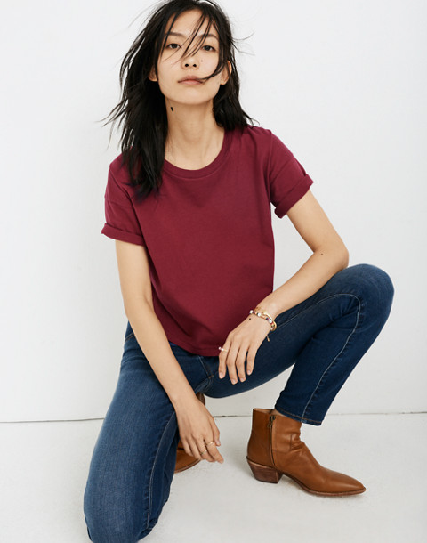 Crop Tee in dusty burgundy image 1