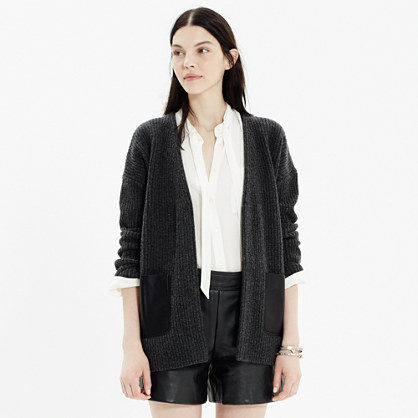 Leather-Pocket Ribbed Cardigan
