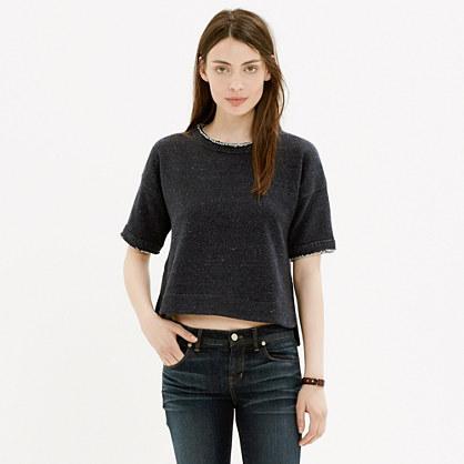 Raw-Edge Crop Sweatshirt