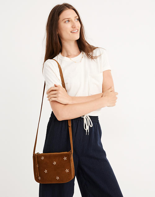 The Simple Crossbody Bag Daisy Embroidered Suede Edition