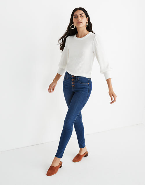 "10"" High-Rise Skinny Jeans in Brinville Wash: Button-Front TENCEL™ Denim Edition in brinville wash image 1"