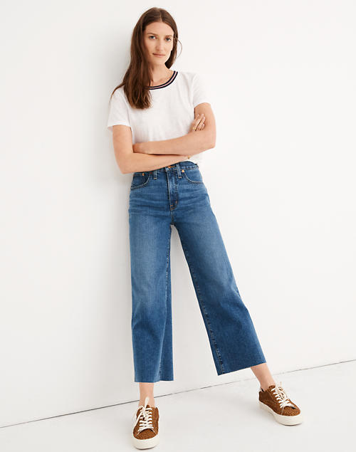 Petite Slim Wide-Leg Jeans in Crownridge Wash: Raw-Hem Edition in crownridge wash image 1