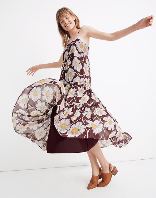 Braided Strap Tier Midi Dress In Metallic Big Time Blooms by Madewell