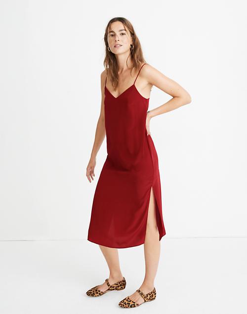 Tall Silk Eva Side Slit Slip Dress