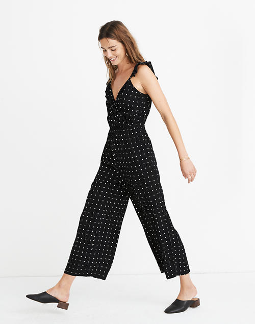 Petite Ruffle Front Wrap Jumpsuit In Grid Dot by Madewell