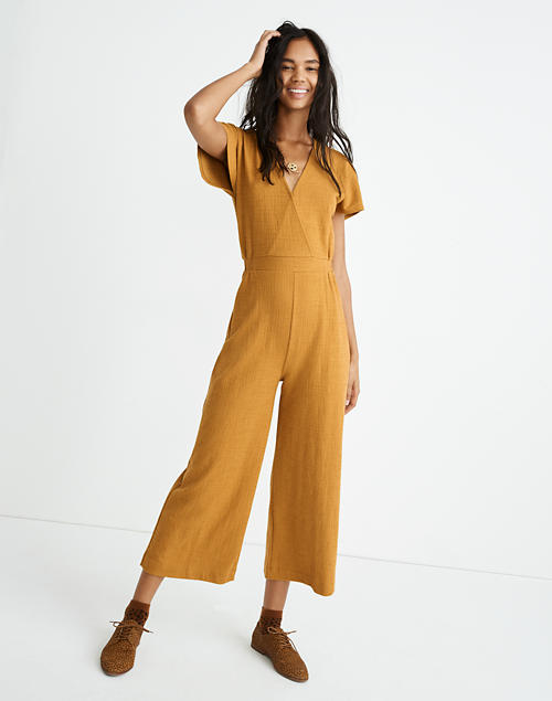 Texture & Thread Wide-Leg Wrap Jumpsuit in egyptian gold image 1