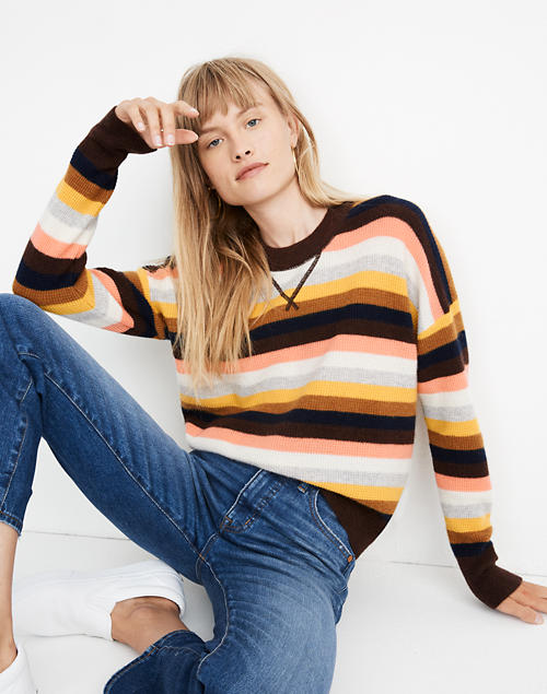 Cashmere Sweatshirt in Reedham Stripe in romantic coral image 1