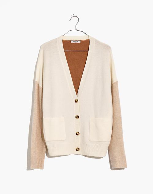 Short Kent Ex-Boyfriend Cardigan Sweater in Colorblock in heather timber image 4