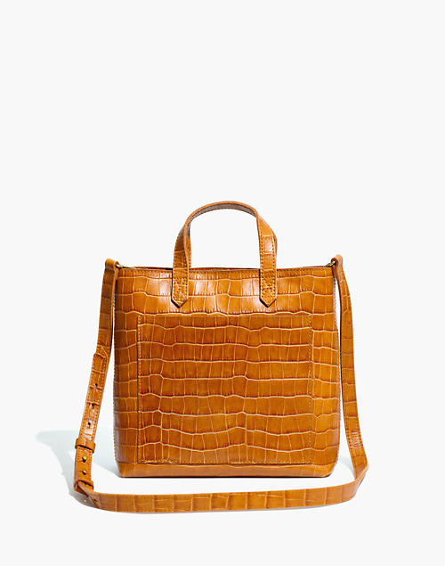 The Zip Top Small Transport Crossbody: Croc Embossed Leather Edition by Madewell